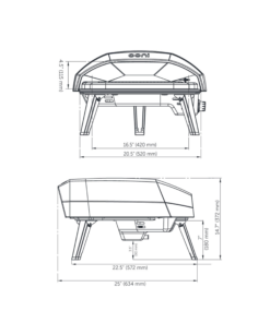 Ooni Koda 16 gas pizza oven - Measurements and Dimensions